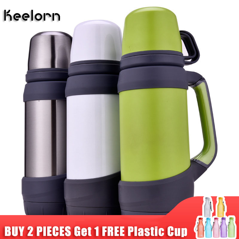 KEELORN water bottle 1000ML 1200ML Outdoor thermostat household stainless steel hot water bottle car travel warm kettle Термос