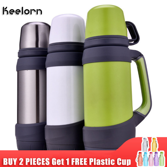 Keelorn Vakuum Flaschen Thermoskannen Edelstahl 1,2 L 1L Große Größe Im Freien Reise Tasse Thermos Flasche Thermische Kaffee Thermos Cup