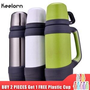 Image 1 - Keelorn garrafas térmicas de vácuo aço inoxidável 1.2l 1l tamanho grande viagem ao ar livre copo garrafa térmica copo térmica café
