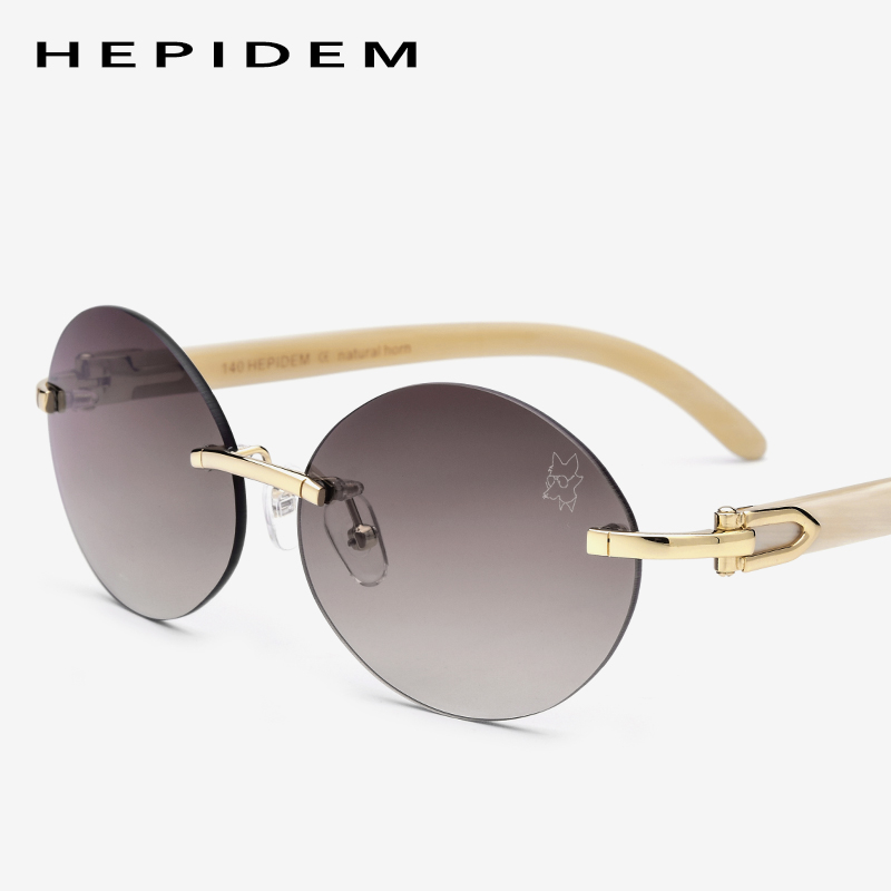 High Quality Glasses Frame Rimless Sunglasses Men Round Sunglass Luxury Eyewear Eyeglasses Buffalo Horn Glasses
