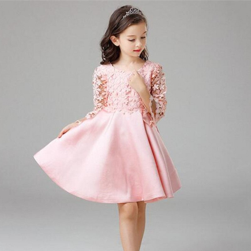Pink Flower Girl Dresses for Kids Lace Long Sleeves Wedding Party Dress 2017 Summer Princess Prom Gown New Children Clothes girls dress 2017 new summer flower kids party dresses for wedding children s princess girl evening prom toddler beading clothes
