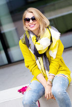 Women Shawl Cozy black mixed yellow black Blanket Oversized Tartan Scarf Wrap