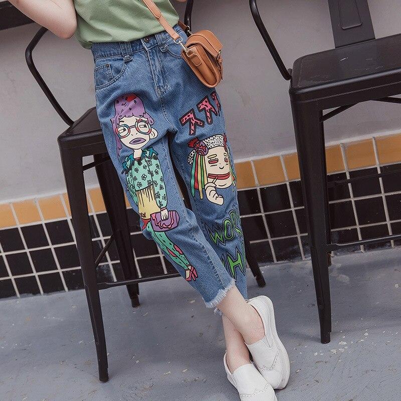 ФОТО Cartoon Print Jeans Women Casual Loose Tassel Denim Jeans Blue Plus Size 5XL Trousers MYNZ43