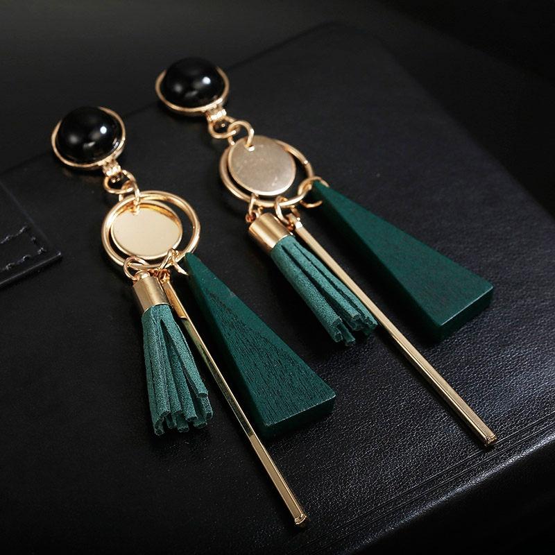 Korean Japan Trendy Tassel Clip on Earrings Non Pierced Temperament Hanging Ear Clips for Women Girl Party Jewelry Gift