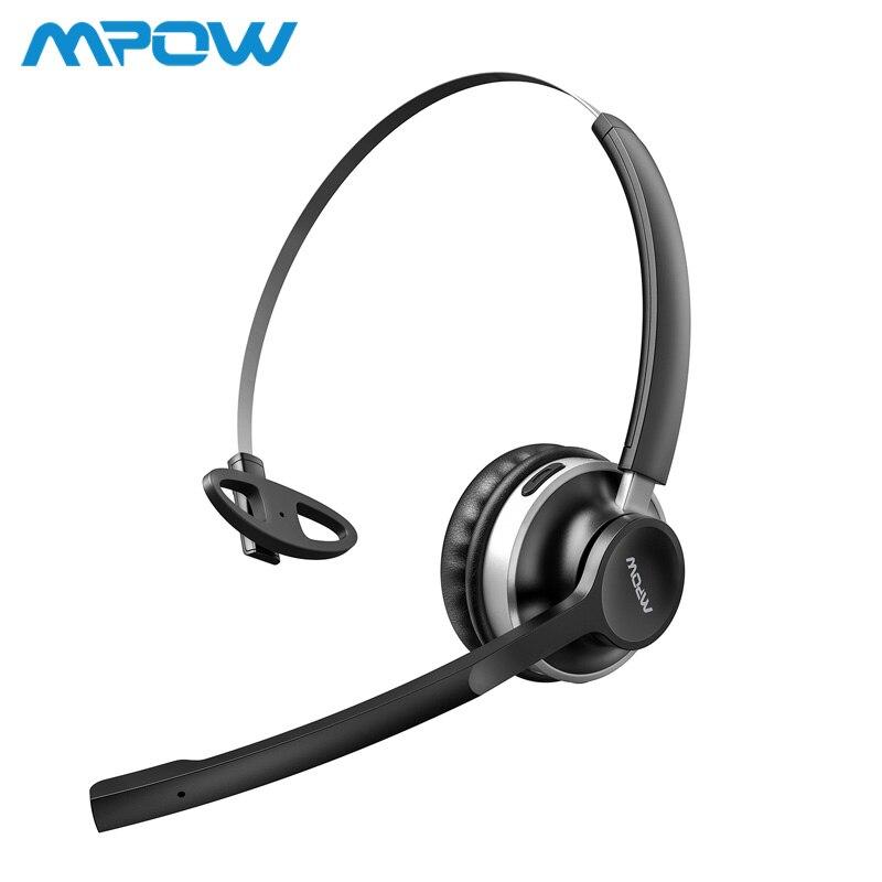 Mpow HC3 Cuffie Bluetooth Dual Cancellazione del Rumore del Microfono di Cristallo Chiaro Wireless e Wired Cuffie Per PC/Laptop/Chiamata centro