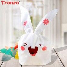 Tronzo 50pcs / lot nyúl fül ajándék táska születésnapi party dekorációk gyerekek aranyos nyuszi műanyag táska csomagolás esküvői ajándékok és ajándékok