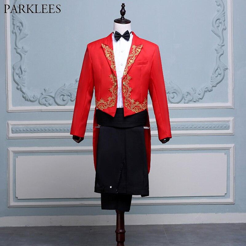 Hommes or broderie 4 pièces rouge costume de smoking (veste + pantalon + Blet + cravate) marque conducteur magicien pianiste bal Tailcoat costume hommes Terno