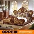 Muebles de dormitorio de lujo Tradicional Cama Con Cabecero Tapizado de China fábrica de muebles OB-0314043