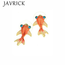 Cute Vivid Tiny Goldfish Stud Earrings For Women Fashion Jewelry