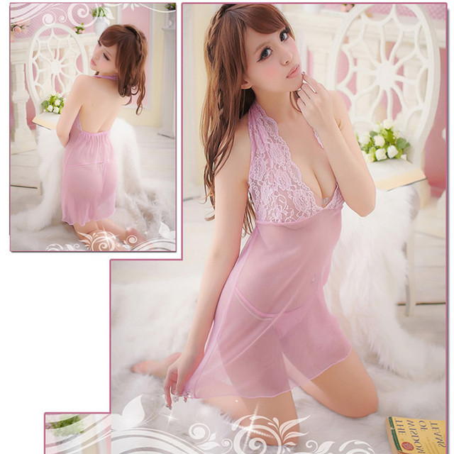 New Sexy Lace Transparent nighty Dress Lingerie Underwear Sleepwear  G-String Hot 0b3936d0a