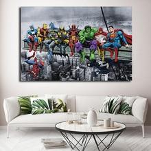 DC Marvel Супер Герои плакат ланч на небоскребе Мстители Endgame Холст Картина Человек-паук Халк Дэдпул настенные художественные картины