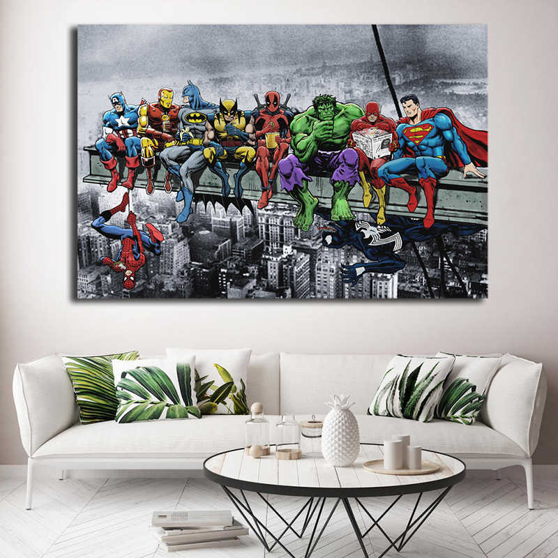 DC Marvel Super Heroes Poster Lunch ATOP A Skyscraper Avengers Endgame Canvas Painting Spiderman Hulk Deadpool Wall Art Pictures