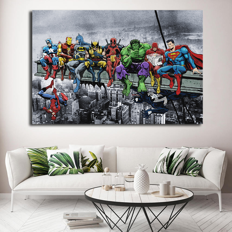 DC Marvel Super Heroes Poster Lunch ATOP A Skyscraper Avengers Endgame Canvas Painting Spiderman Hulk Deadpool Wall Art Pictures image