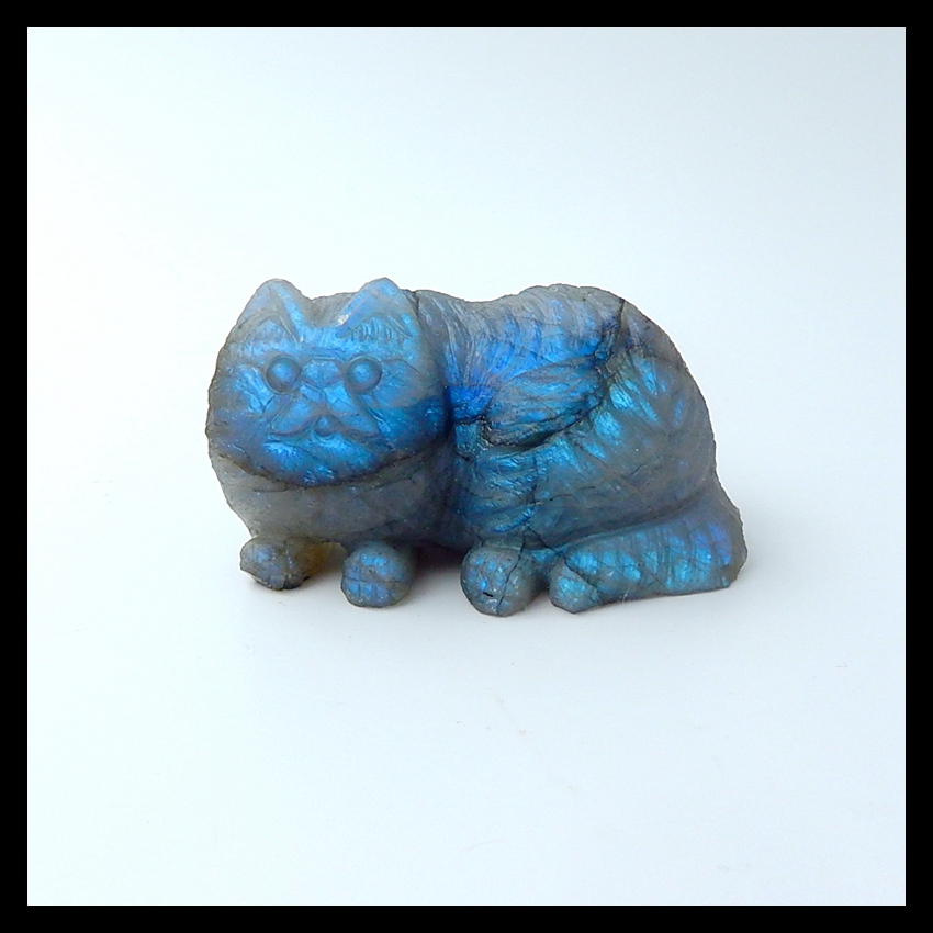Blue Light Labradorite Carved Cat for Aniamal Lover Cabochons ,55x33x32mm,79.4g