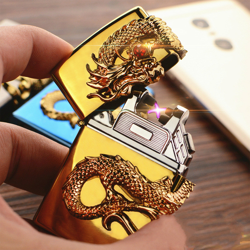 USB charging double arc lighter windproof personality Creative Dragon Man electric pulse metal cigarette Lighter Gift