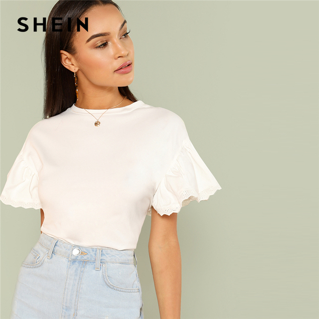 c4eaab76e0 SHEIN White Elegant Round Neck Eyelet Embroidered Trim Ruffle Short Sleeve  Solid T-shirt Summer Women Weekend Casual Tee Top