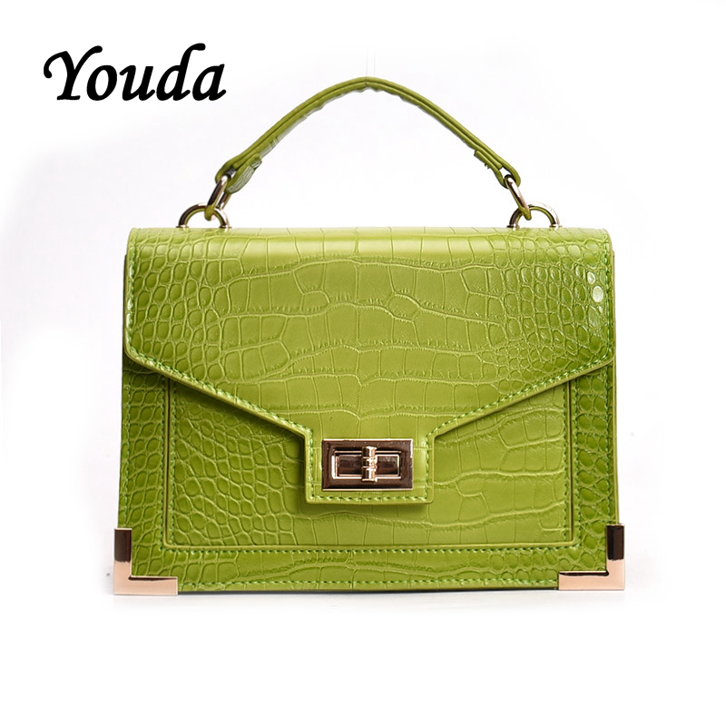 Youda Simple Fashion Style Ladies Clamshell Messenger Bag Crocodile Pattern PU Material Shoulder Bags Vintage Mobile Phone Pouch