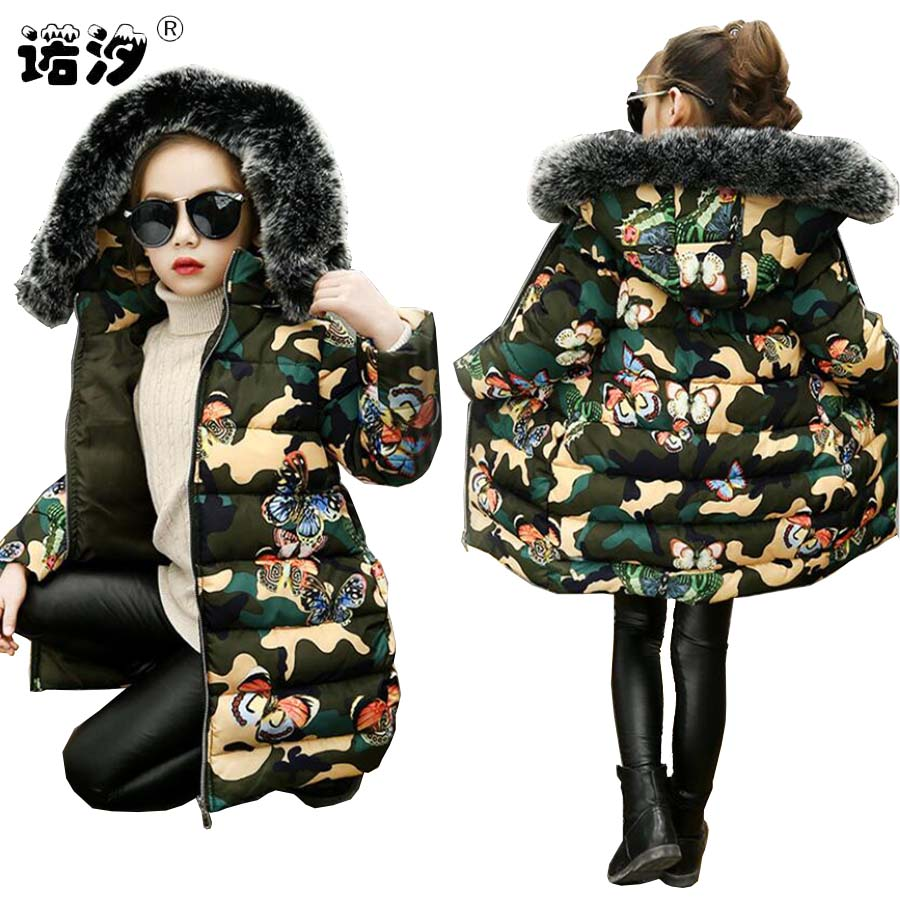 все цены на Girls clothes kids winter thickening cotton jacket girls long style butterfly camouflage warmly coat girls tops baby outwear