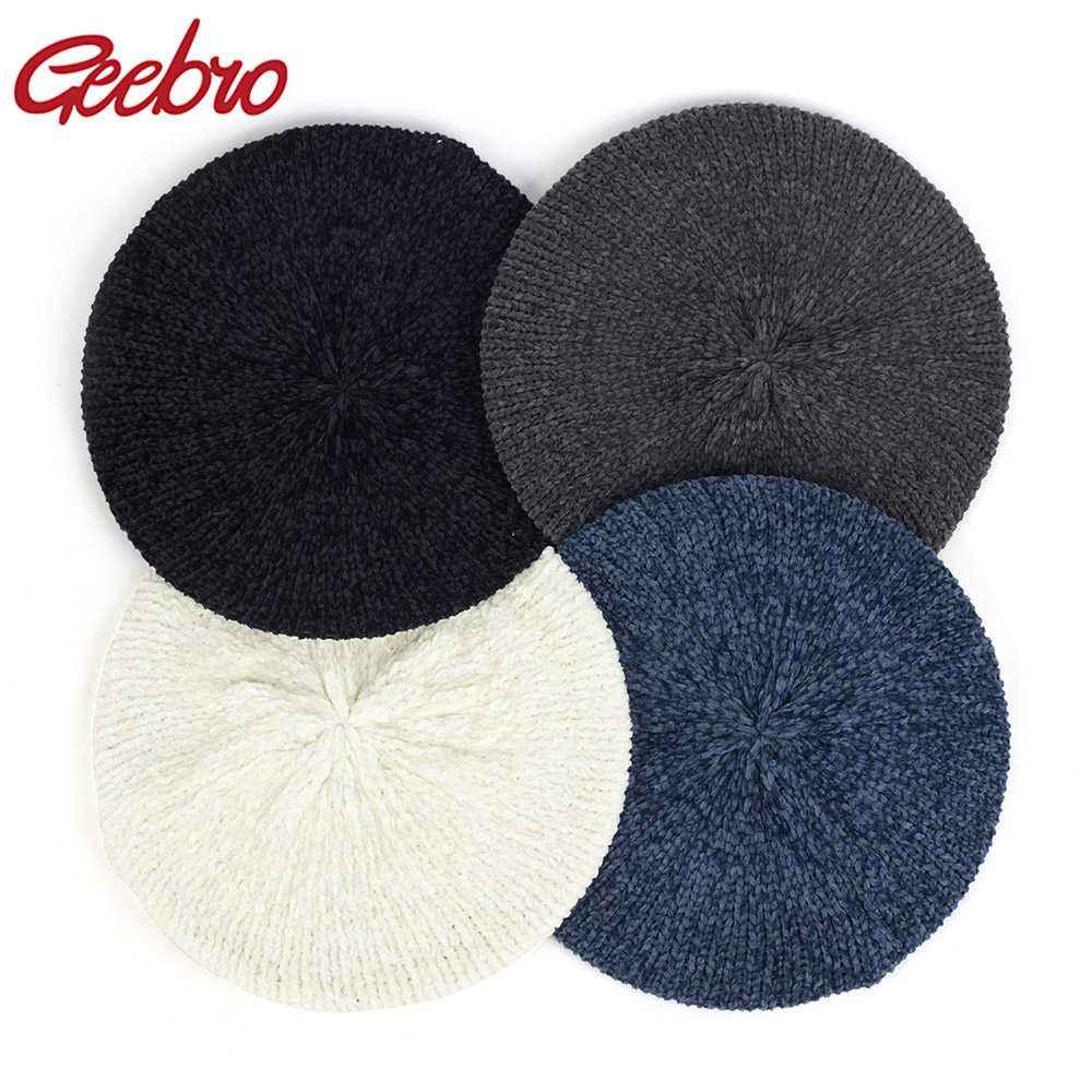 Geebro New Women's Plain Classic Chenille Casual Knitted Breathable Beret Thin Acrylic Berets For Women Ladies Beret Warm Hat