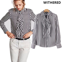 Withered New Arrival Winter Blusas Blouse Women England Style Ruffles With Shoulder Pad Striped Urban Shirt