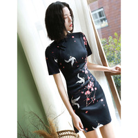 Chinese Asian crane design short sleeve black summer Cheongsam dress