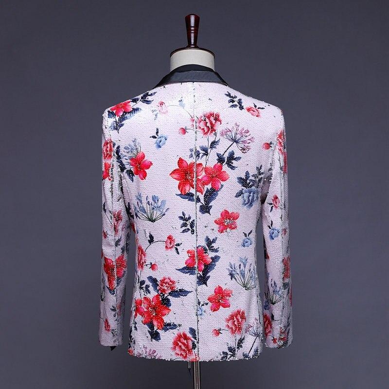 Herren Pailletten Blazer Masculino Verziert Blazer Hombre Blazer Homme Glitter Jacke Männer Floral Anzug Jacke - 3