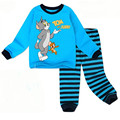 2016 nuevo algodón del muchacho de la manga Larga pijamas bedgown sleepcoat camisón de Dibujos Animados pijamas de los niños del muchacho del cabrito del gato modelado