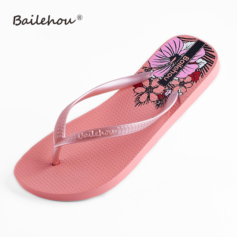 Bailehou Women Flat Shoes Slippers Fashion Designer Beach Flip Flops Ladies Summer Outside Sandals Mujer Flats Slip On Slides sweet women high quality bowtie pointed toe flock flat shoes women casual summer ladies slip on casual zapatos mujer bt123