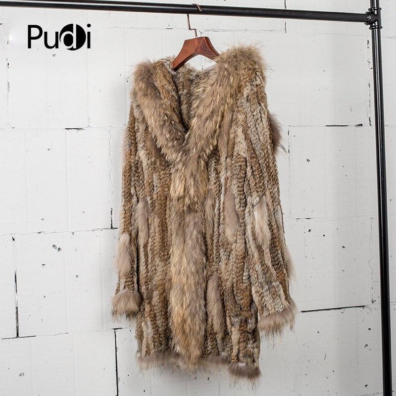 CT7010 femmes tricoté véritable véritable véritable manteau de fourrure de lapin manteau manteau vestes vêtement et col de raton laveur longueur 80 cm-in Réel De Fourrure from Mode Femme et Accessoires    1