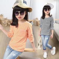 Kids clothing 2017 children basic shirt long-sleeve spring o-neck stripe girls t-shirt