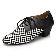White&balck Latin Dance Shoes Men Lace Up  Ballroom Dance Shoe Square Heel Salsa Shoes Soft 1835