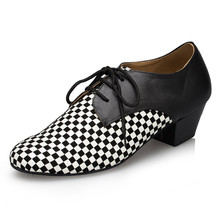 White&balck Latin Dance Shoes Men Lace Up Ballroom Dance Shoe Square Heel Salsa Shoes Soft 1835