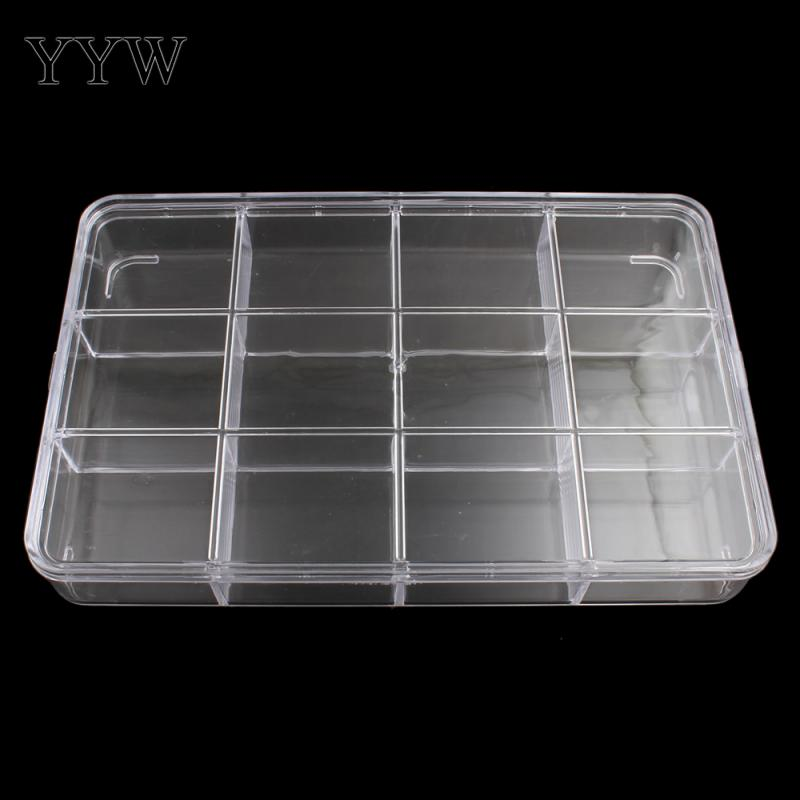 12 Cells Rectangle Plastic Box Jewelry Beads Container Clear Case 22.5x14.5x3.5cm Sold B ...
