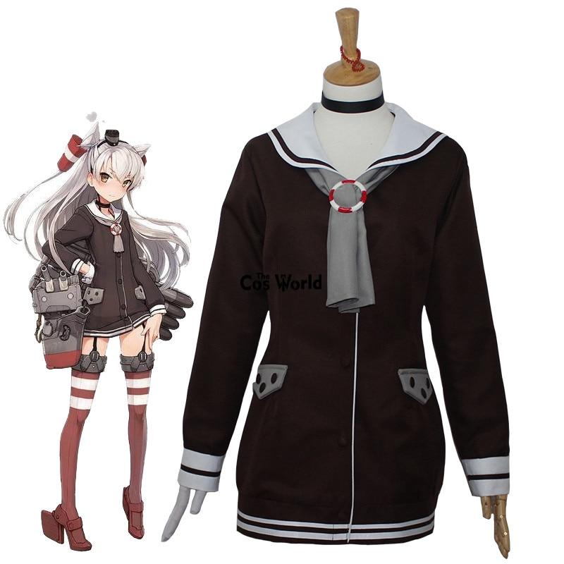 Collection Amatsukaze Sailor Suit School Uniform Coat Jacket Tops Outfit Anime Cosplay Costumes