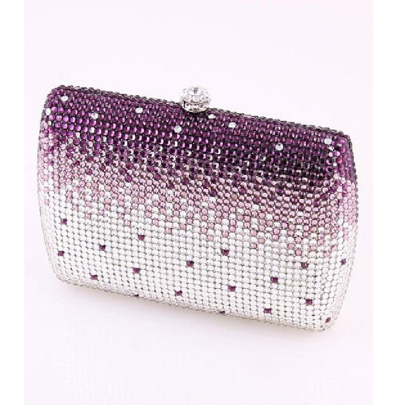 ФОТО 7759PC Purple Crystal in Gradual change effect Lady fashion Bridal wedding Metal Evening purse clutch bag case box handbag