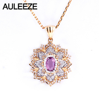 AULEEZE Vintage Natural Pink Sapphire Wedding Pendant Real Diamond 18K Yellow White Gold Gemstone Necklace For