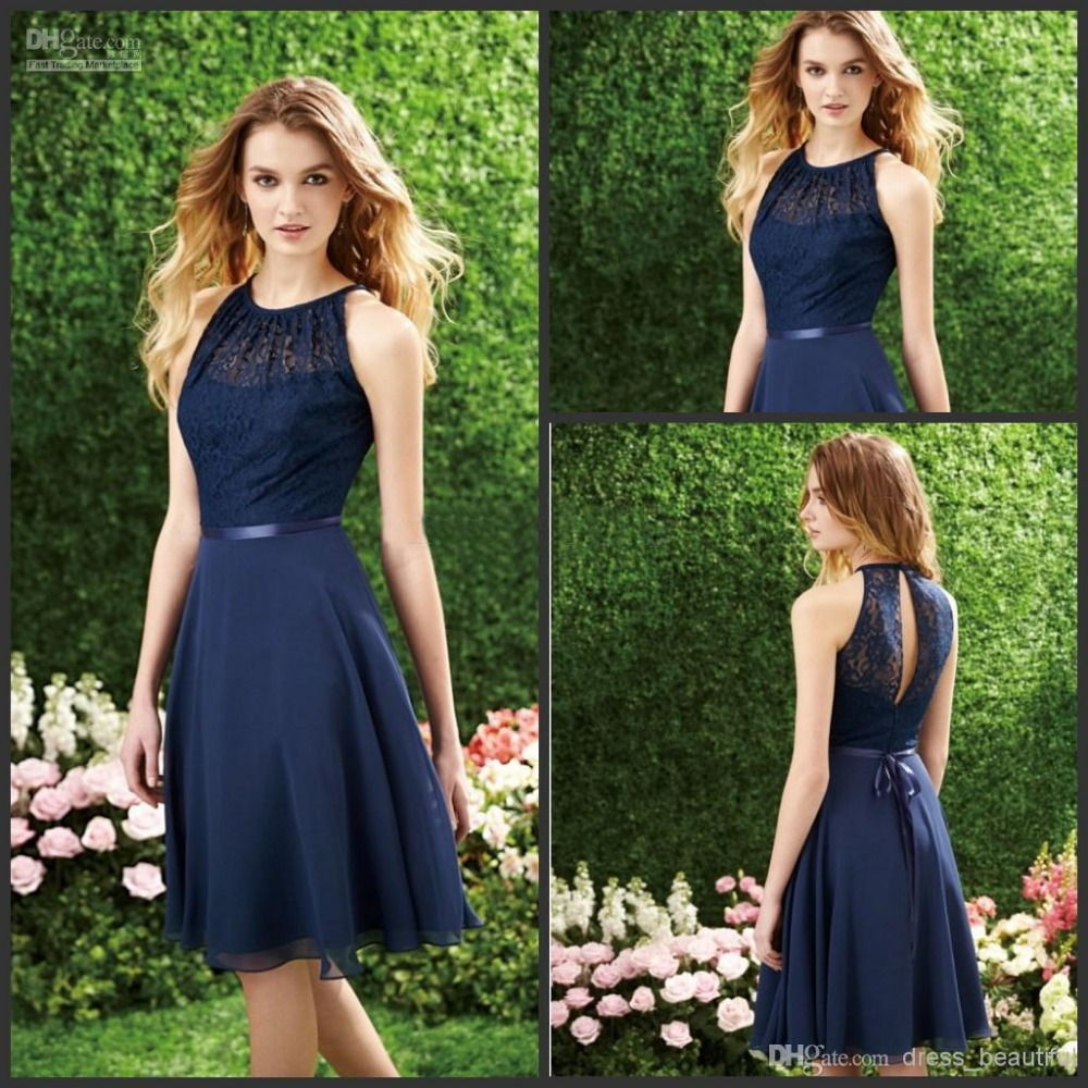 Online buy wholesale navy knee length bridesmaid dress from china free shipping a line wedding party dresses ruched knee length 2016 dark navy beaded chiffon ombrellifo Image collections