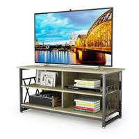 DEWEL Wood TV Stand Modern Multipurpose Home Furniture Storage Console Entertainment Media Center with 4 Open Storage Shelves
