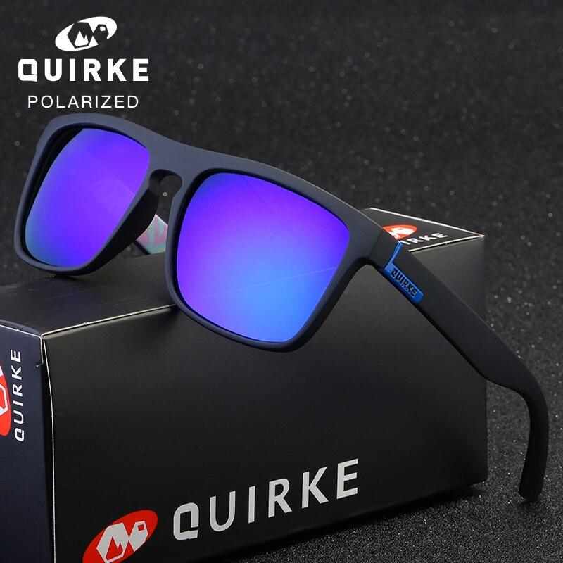 12127fc5f7 QUIRKE gafas de sol polarizadas cuadrado gafas de conducir hombres mujeres  Unisex de los deportes de la marca de lujo de Google UV400 con caja de marca