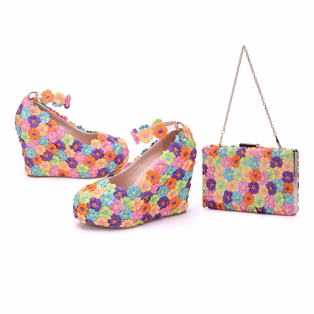Crystal Queen Multicolor Flower Shining LACE Womens Wedge Shoes Wedding Shoes Matching bags Clutches 11CM High