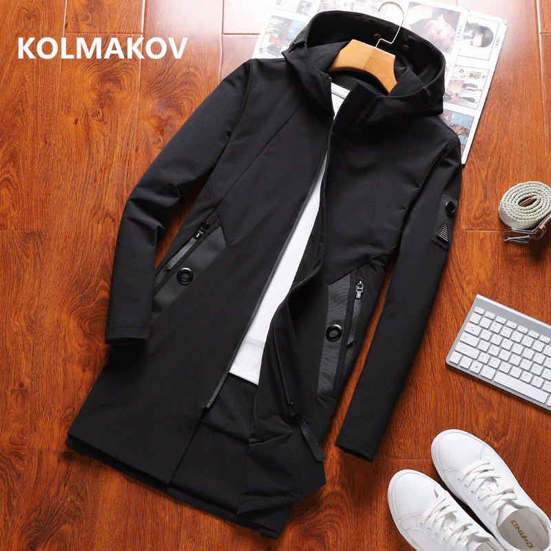 2019 Autumn Men's Casual   Trench   Coat Hooded Windbreakers Male Jackets men high quality Loose Style Jacket full size M- 4XL