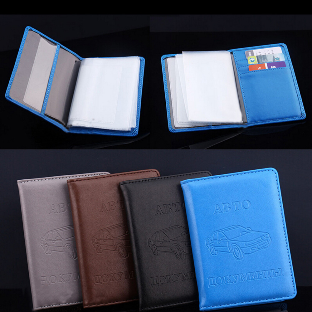 High Quality Russian Auto Driver License Bag Pu Leather On Cover For Car Driving Note Credit Holder Case Documents Card Card Holder & Note Holder Office & School Supplies
