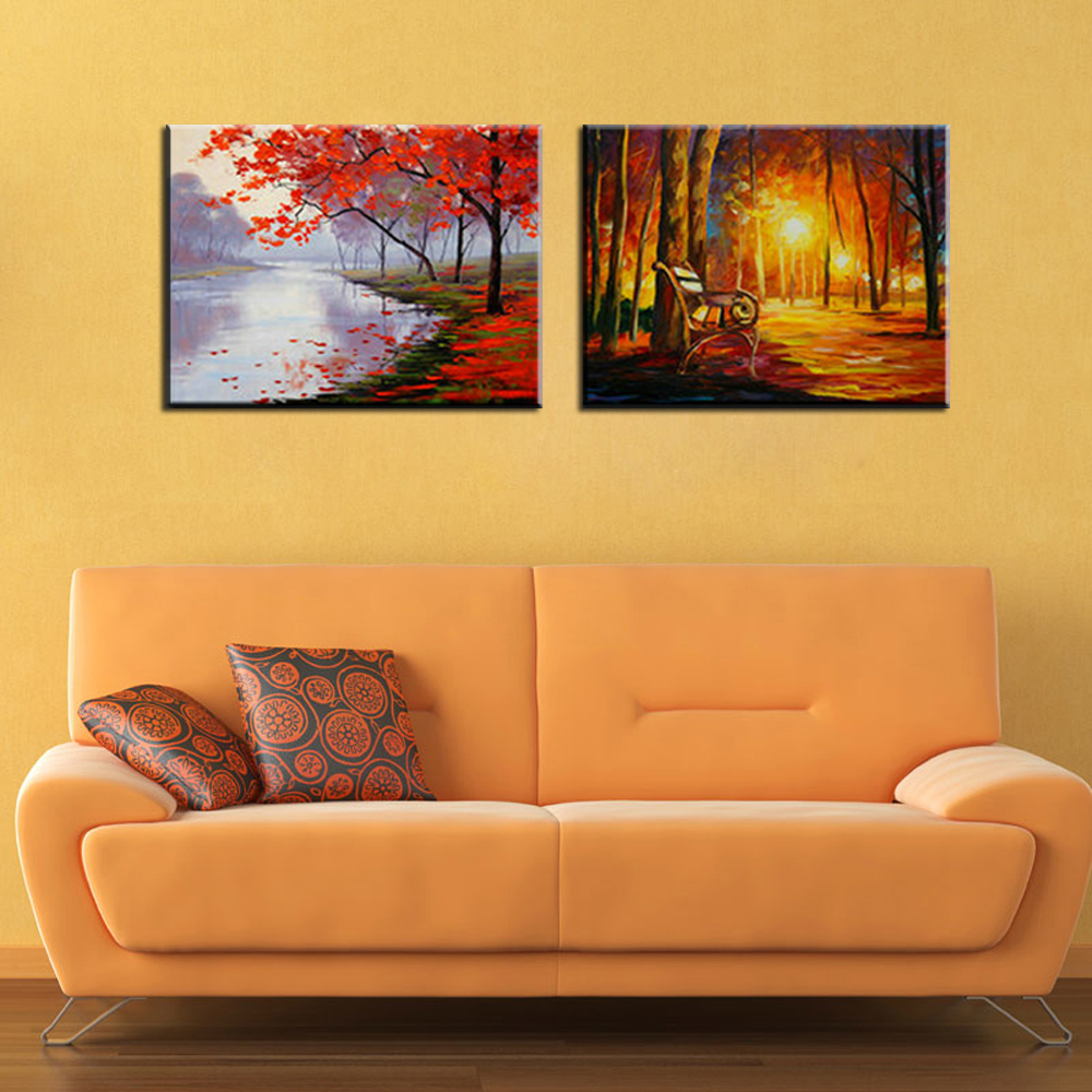 Large Abstract landscape decorative pictures canvas wall art printed ...