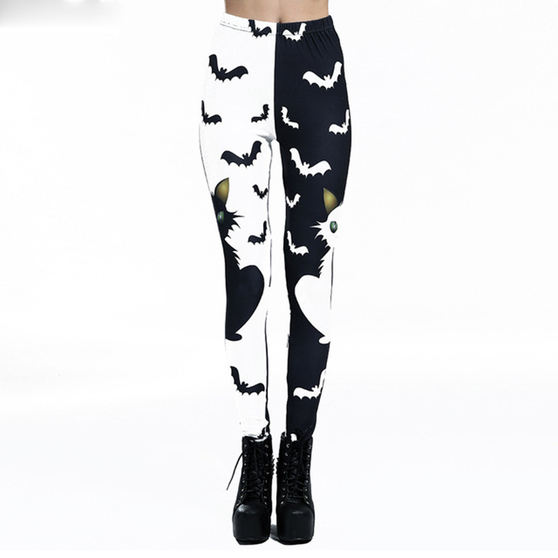 NORMOV Black White Bat Printed Women Leggings Slim High Waist Ankle Length Leggins Push Up Breathable Fitness Leggings Female
