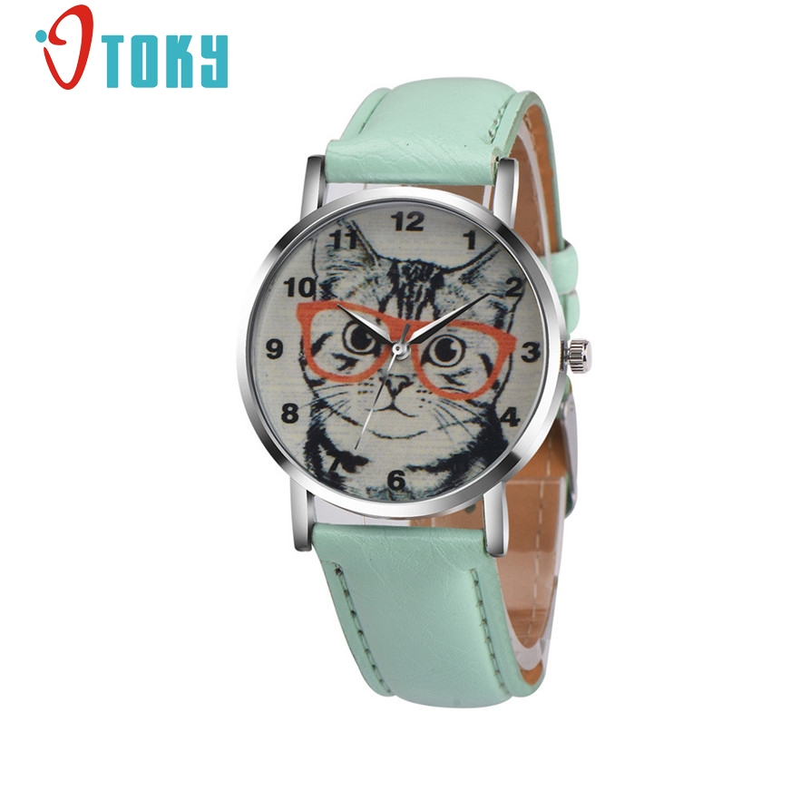 OTOKY hours women watches leather Fashion Cartoon Cat quartz watch women dress watch reloj dress montre femme #40 Gift 1pc