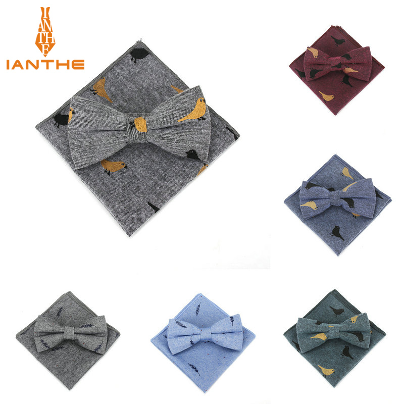 2018 Bowknot Set Classic Cotton Birds Printed CMen Butterfly Bow Tie BowTie Pocket Square Handkerchief Suits Set Leaf Neckwear