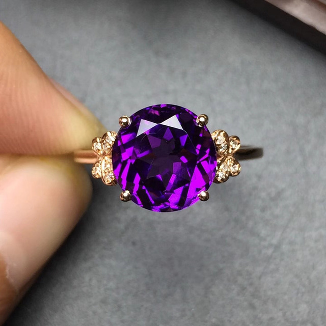 Fine Jewelry Customized Size Real 18K Rose Gold AU750 100% Natural Amethyst Gemstone Female Rings for Women Fine Ring