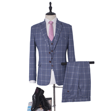 NA51 New Arrival Mens Suits Light Blue Plaid Tuexdos Mans Wedding Wear Customized Size 5XL Winter Use Guangzhou Suits Suzhou