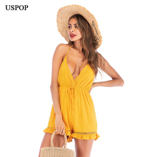 USPOP 2019 Summer jumpsuits Women sexy backless V-neck Halter playsuits Casual Ruffle Shorts Beach Jumpsuit