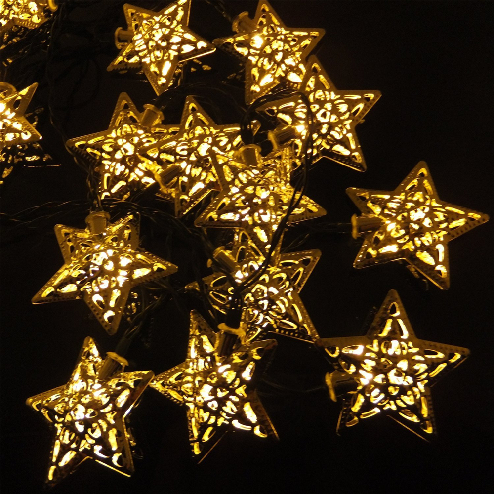 Us 13 29 5 Off 5m Waterproof Solar Ed Silver Star Led Fairy String Lights 20leds Outdoor Garden Fence Patio Christmas Wedding Decoration In